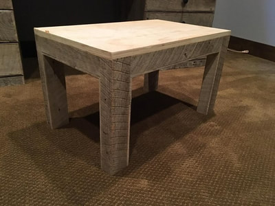 This is the matching stool made of gray reclaimed wood. All cut edges are trimmed with other gray wood.