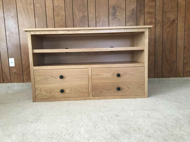 Front view of the white oak entertainment center