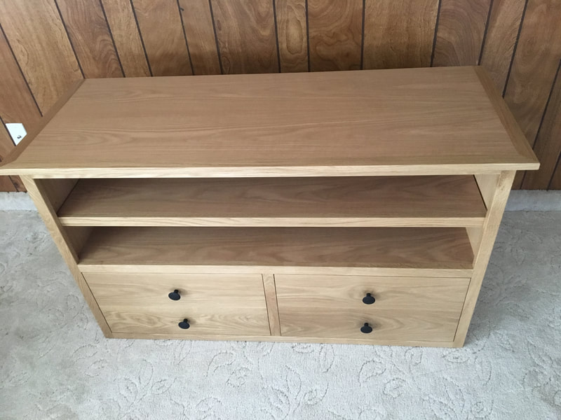 Top angle view of the white oak entertainment center